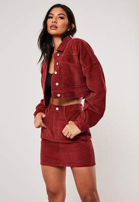 Missguided Red Co Ord Cropped Cord Jacket