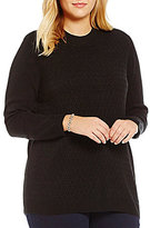 Allison Daley Plus Mock Neck Solid Pullover