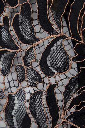 Coco de Mer Rivera Cutout Corded Lace And Satin Camisole With Suspenders - Black