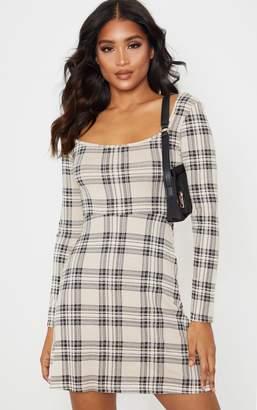 PrettyLittleThing Beige Check Print Long Sleeve Square Neck Shift Dress
