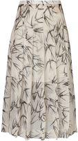 Rochas pleated swallow print skirt