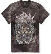 Balmain Oversized Distressed Printed Cotton-jersey T-shirt - Charcoal