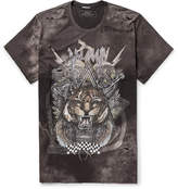 Balmain Oversized Distressed Printed Cotton-Jersey T-Shirt
