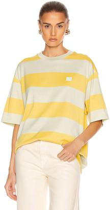 Acne Studios Stripe Face Tee in Lemon Yellow | FWRD