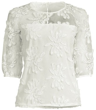 Donna Karan Poppy Embroidered Three-Quarter Sleeve Top
