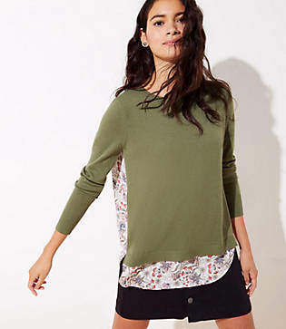 LOFT Petite Floral Mixed Media Sweater