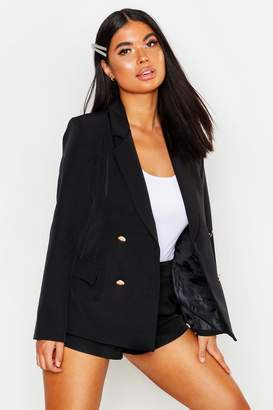 boohoo Petite Double Breasted Military Blazer