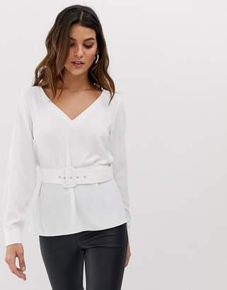 Asos Design DESIGN long sleeve v neck plunge top with belt-White