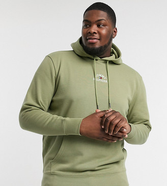 Tommy Hilfiger Big & Tall chest embroidered logo hoodie in faded olive