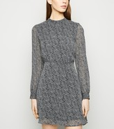 New Look Paisley Print High Neck Mini Chiffon Dress