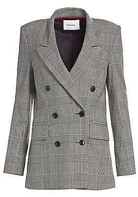 Frame Women's Double Breasted Houndstooth Plaid Blazer