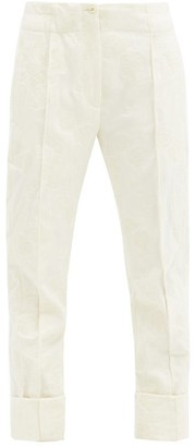 Ann Demeulemeester Floral-jacquard Wool-blend Trousers - White