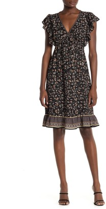 Max Studio Ruffle Cap Sleeve Ditsy Print Dress
