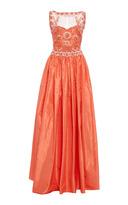 Naeem Khan Silk Embroidered Sleeveless Gown