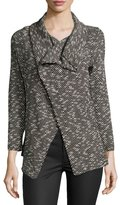 Bobeau Shawl-Collar Textured Herringbone Jacket, Black