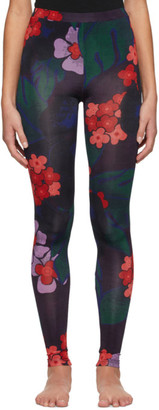 Dries Van Noten Purple and Red Floral Leggings