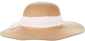 San Diego Hat Company Faux Felt Floppy w/ Chiffon Tie (Camel) Traditional Hats