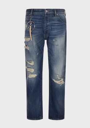 Emporio Armani J04 Loose-Fit, Dirty-Denim Ripped Jeans