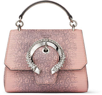 Jimmy Choo MADELINE TOPHANDLE/S Ballet Pink Lizard Print Leather Top Handle Bag with Crystal Buckle