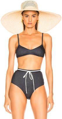 Solid & Striped Cora Bikini Top in Denim | FWRD