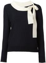Sonia Rykiel long sleeve neck-tie sweater - women - Virgin Wool - M