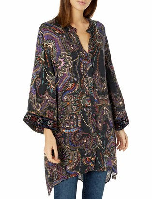 3J Workshop by Johnny Was Women's Printed Rayon Kimono Tunic with Velvet Detail
