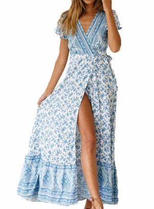 Alieyaes Women's Dresses Bohemian High Split V Neck Short Sleeve Ethnic Style Wrap Beach Maxi Dress Light Blue