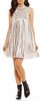 1 STATE Metallic Pleated Halter Swing Dress