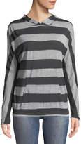 Allen Allen Striped Jersey Hoodie Sweater