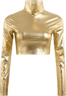 inlzdz Women's PVC Leather Metallic Turtleneck Long Sleeves Crop Tops Clubwear Dancewear Black X-Large