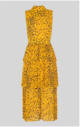 Whistles Animal Print Tiered Dress