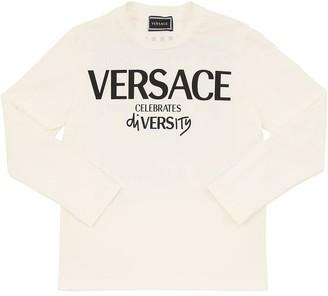 Versace Logo Print L/S Cotton Jersey T-Shirt