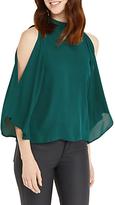 Oasis Halterneck Cold Shoulder Top, Turquoise