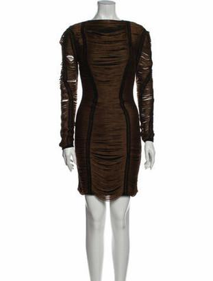 Balmain Bateau Neckline Mini Dress Brown