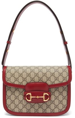 Gucci 1955 Horsebit Gg Supreme Shoulder Bag - Red Multi