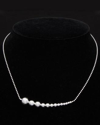 Italian Silver Adjustable Graduated Beads Necklace