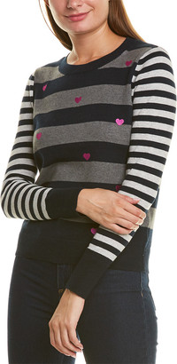 LISA TODD Scattered Hearts Cashmere-Blend Sweater