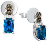 LeVian Le Vian Chocolatier® Deep Sea Blue TopazTM (1 ct. t.w.) and Diamond (1/10 ct. t.w.) Drop Earrings in 14k White Gold