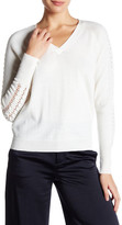 Milly Shirred Pointelle Wool Sweater