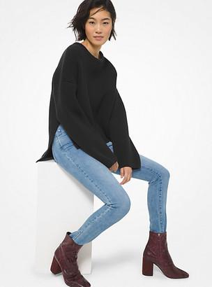 MICHAEL Michael Kors MK Ribbed Stretch Wool High-Low Sweater - Black - Michael Kors
