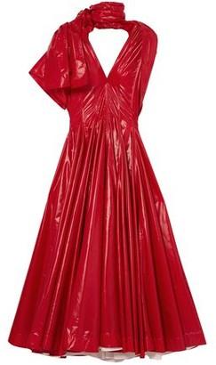 Calvin Klein Bow-detailed Pleated Vinyl Maxi Dress