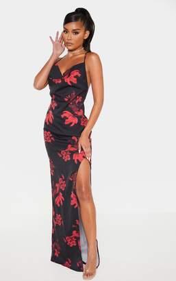 PrettyLittleThing Black Floral Print Cowl Neck Button Maxi Dress