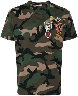 Valentino badge appliquéd camouflage T-shirt