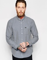 Lee Regular Fit Shirt Mini Dobby Check In Washed Blue