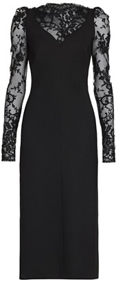 Alexander McQueen Puff Sleeve Lace Midi Dress