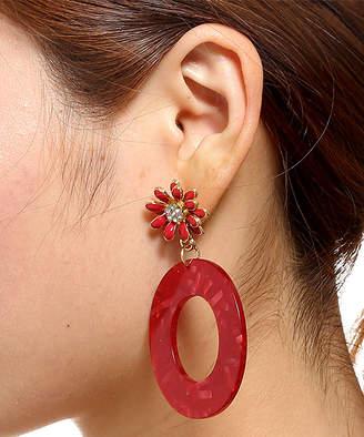 Amrita Singh Women's Earrings Red - Red Crystal Oval Drop Earrings