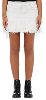 Faith Connexion Women's Ruffle-Trimmed Denim Miniskirt-WHITE