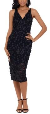 Xscape Evenings Raised-Flower Lace Midi Dress