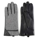 Journee Collection Women's Leather Houndstooth Lined Gloves