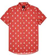 Burton Mens Red Christmas Tree Print Short Sleeve Shirt